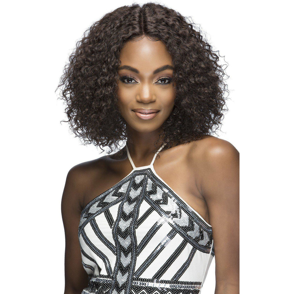"FABRIZIA 13"" LAYERED TIGHT CURL Remi Human Hair Lace Front Wig Vivica Fox"