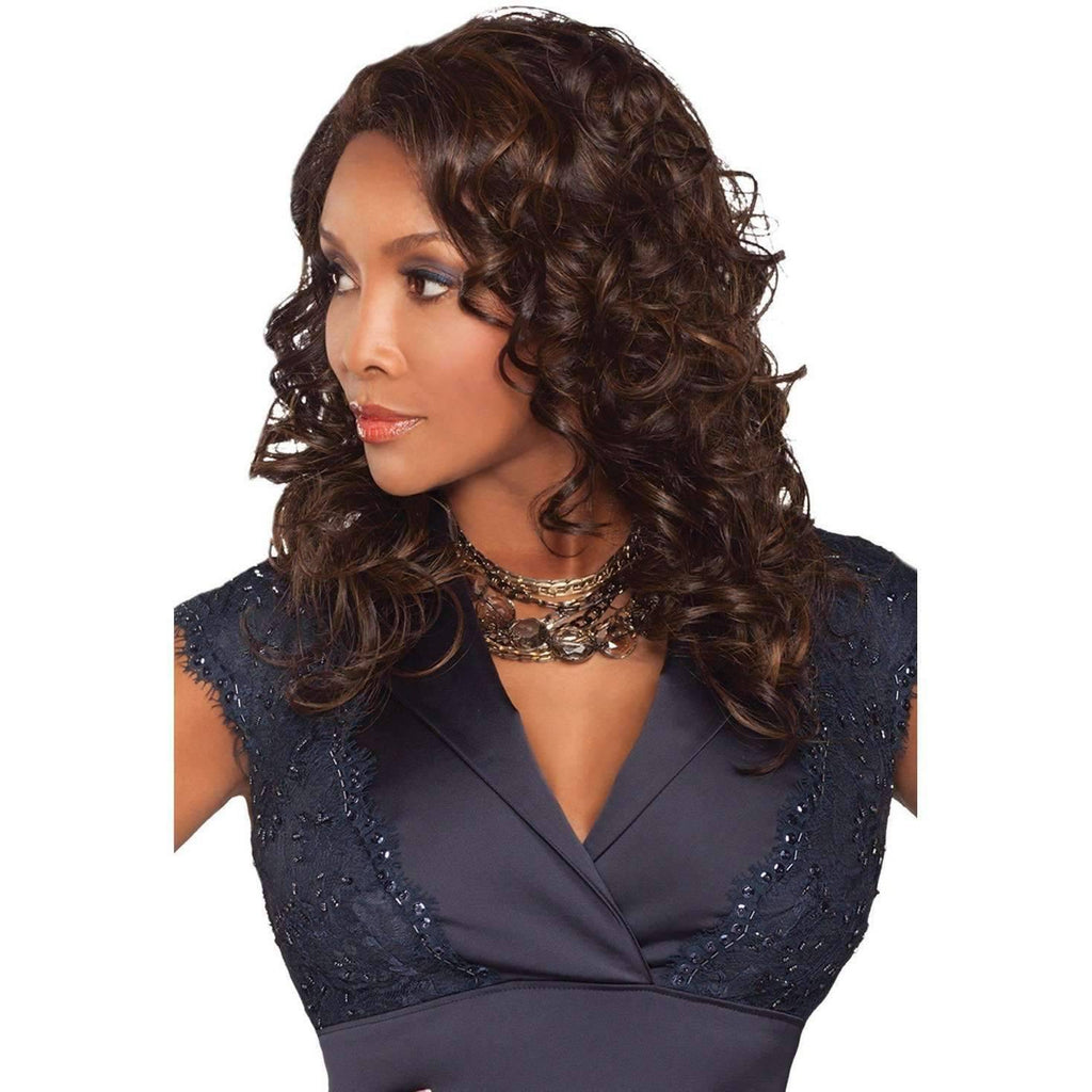 FERGIE-V  Synthetic Layered Roller Set Curl  Wig - Vivica Fox - African American Wigs