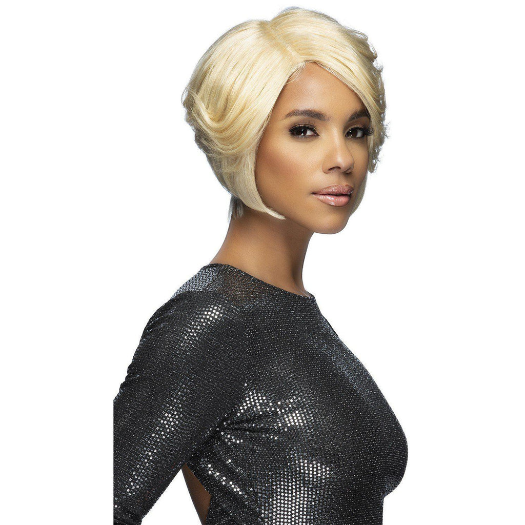 "FLUTE 9"" LAYERED ANGLED BOB Remi Human Hair Lace Front Wig Vivica Fox"