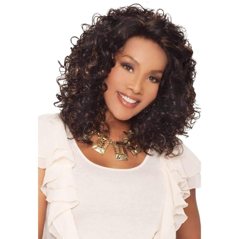FOXY-V  Synthetic Layered Shirley Temple Curl Wig - Vivica Fox - African American Wigs