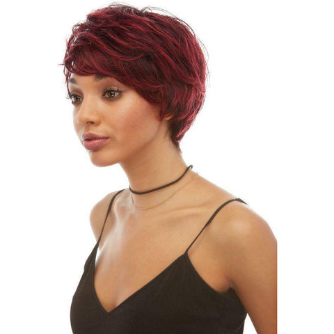 H TANIA Short Pixie Human Hair Wig by Elegante - African American Wigs