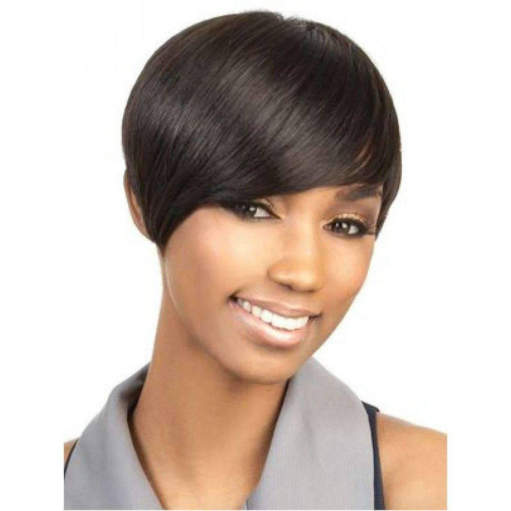 H. Volta - Short Length Straight Human Hair Wig | Motown Tress | African American Wigs - African American Wigs
