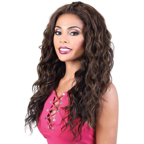 HB360L.BAE - Long Length Curly Human Hair Blend Wig | Motown Tress - African American Wigs