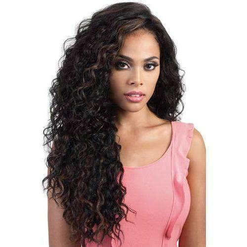 HB360L.Meg - Long Length Curly Human Hair Blend Wig | Motown Tress - African American Wigs