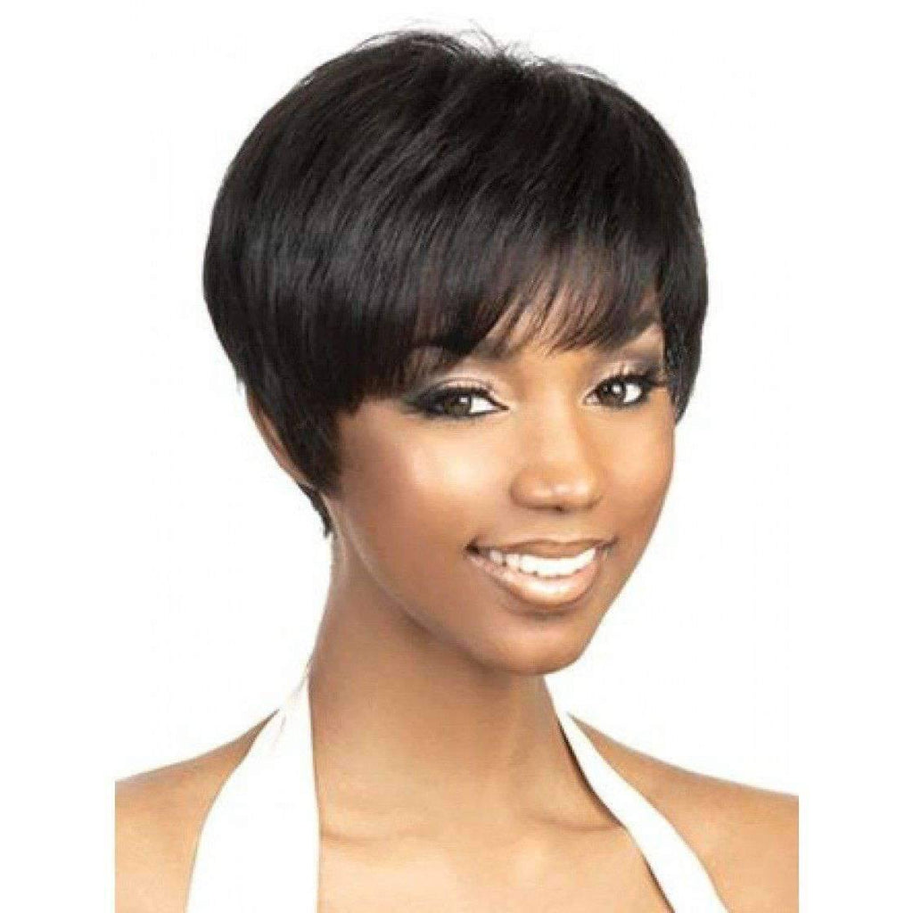 H.Bom-Motown Tress 100% Human Hair Wig Short in Color #1BF30 - African American Wigs