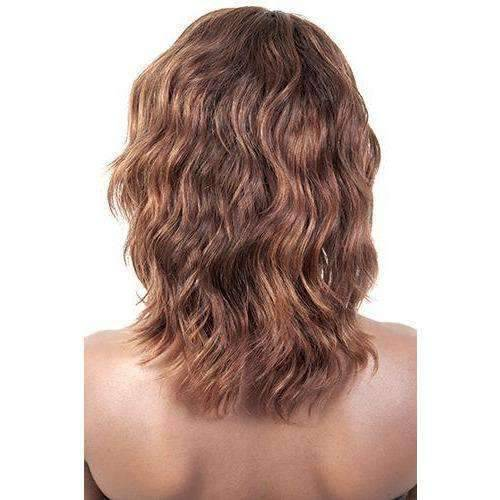 HR. Furla - Medium Length Wavy Human Hair Wig | Motown Tress - African American Wigs