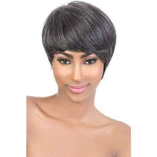 HR WISH Asymmetrical Short Tapered Remy Human Hair Wig Motown Tress - African American Wigs