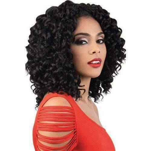 "Motown Tress 10"" X 3 Pack Crochet Feather Lite Locking Loop Beach Curl - African American Wigs"