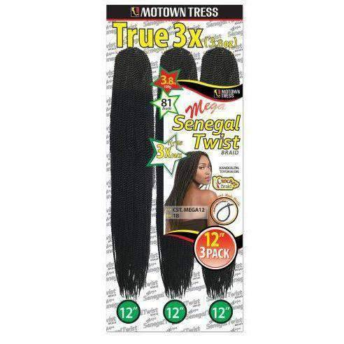 "Motown Tress 12"" 12"" 12"" Multi Pack Crochet Senegal Twist - African American Wigs"