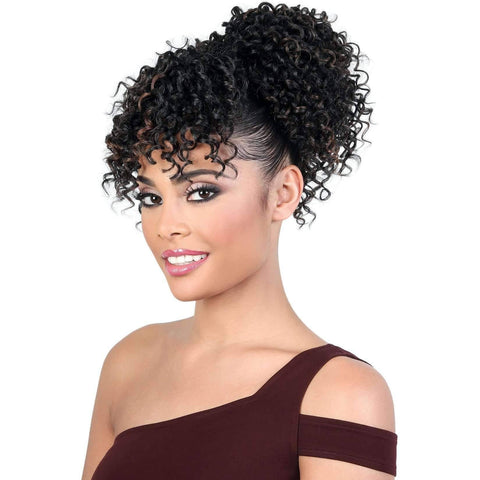 Image of PD-BANG160 - Short Length Curly Synthetic Drawstring Ponytail | Motown Tress - African American Wigs
