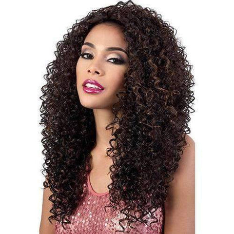 Image of QE.Bling - Long Length Curly Synthetic Half Wig | Motown Tress - African American Wigs