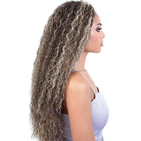 QE.Kamil - Long Length Wavy Synthetic Half Wig | Motown Tress - African American Wigs