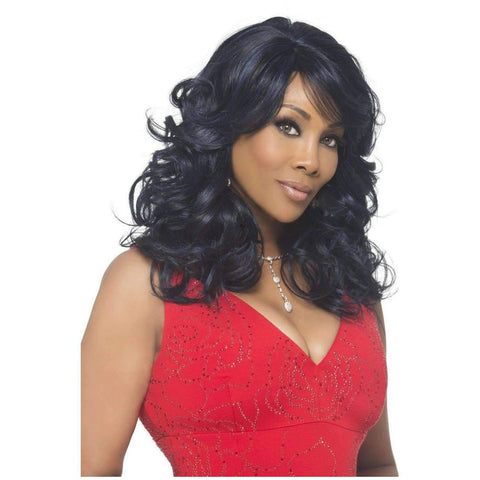 Image of SILVER-V | Heat Resistant Synthetic Wig (Traditional Cap) - African American Wigs