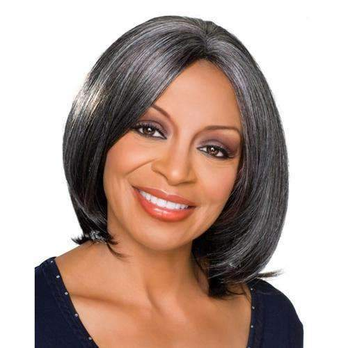 CAROL - Foxy Silver Synthetic Wig in Color #1B - African American Wigs