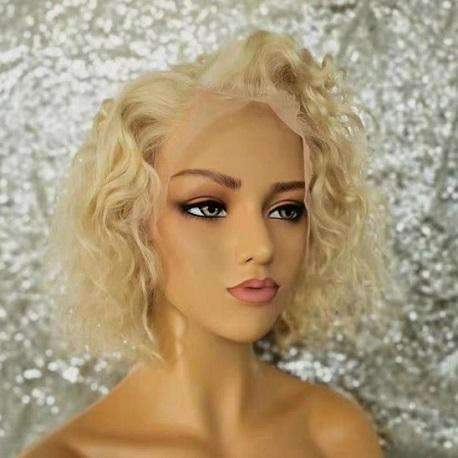 "Cranial Prosthesis | Blondie | Water Wave Bob 13 X 4"" Frontal Human Hair Wig"