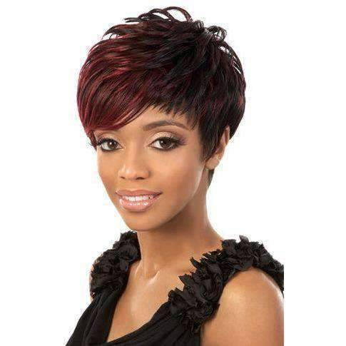 EVAN Short Stacked Synthetic Wig Motown Tress Color 1B - African American Wigs