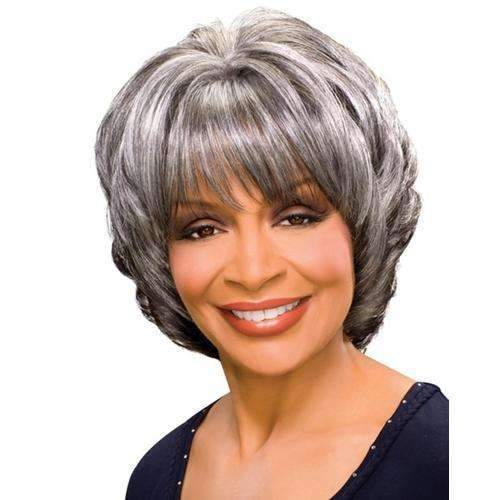 MARGARET - Foxy Silver Synthetic Wig - African American Wigs