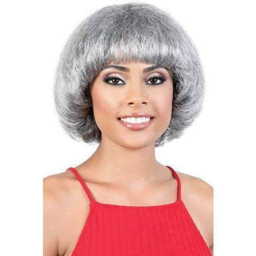 S TAMARA Short Straight Synthetic Wig Motown Tress Synthetic Silver Grey Hair Collection - African American Wigs