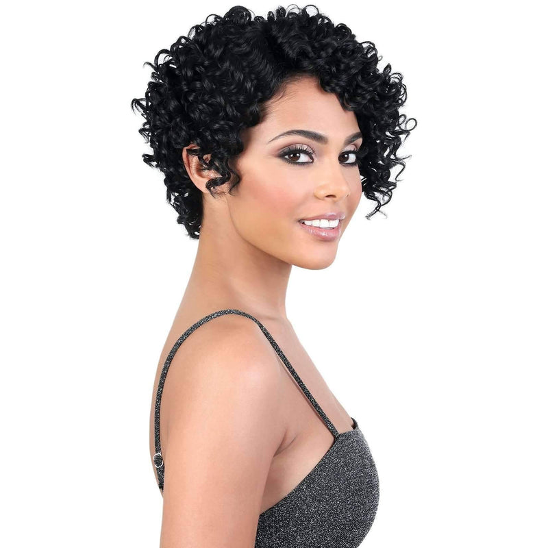 YEMI - Short Length Curly Synthetic Wig | Motown Tress - African American Wigs