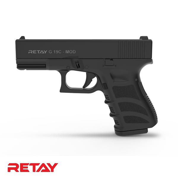 Retay Glock 19C Black or Chrome 9mm Blank Round