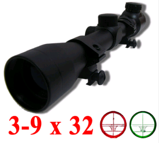 Tactical 3-9 X 32EG Rifle Scope with RED & GREEN Mil-Dot SCOPE