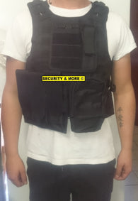 TACTICAL VEST WITH SPACE FOR BALLISTIC PLATES | ONE SIZE FITS ALL | BLACK/CAMO/GREEN