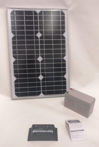 20w Mono Panel + 10a Charge Controller + 12v 7a Gel Battery For Solar Beginners - Security and More