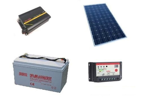 SOLAR KIT 1000W | 4 x 120W PANEL + 1000W INVERTER + 30A CONTROLLER + 2 x 150AH BATTERY