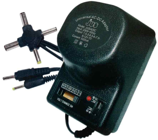 500mA universal AC/DC adaptor (Select Voltage:1.5 3 4.5 6 7.5 9 12 Volt DC Power) - Security and More
