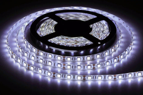 5m Roll Cool White 12v Led Strip Lights | With Power Supply Plug | 3528 Led - Security and More