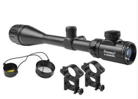 Beileshi 6-24 X 50 AOEG Green Red Mil Dot / Rangefinder Reticle Tactical Rifle Scope - Security and More