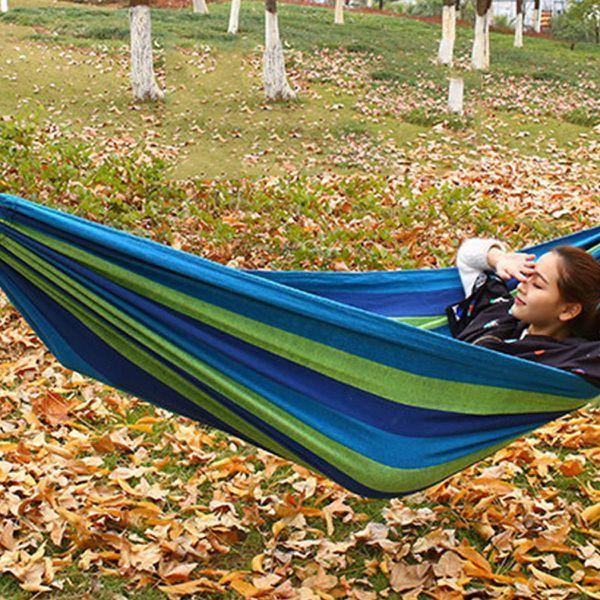 Comfortable Cotton Folding Hanging Hammock - Blue - Security and More