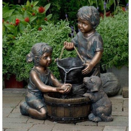 Jeco Two Kids And Dog Outdoor/Indoor Water Fountain - Indoor/Outdoor - DynamicWaterFeatures