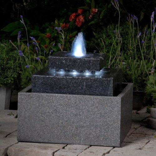 Jeco Square Shaped Fountain with Led Lights - Fountain - DynamicWaterFeatures