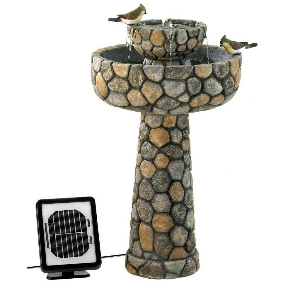 Cobblestone Solar Fountain