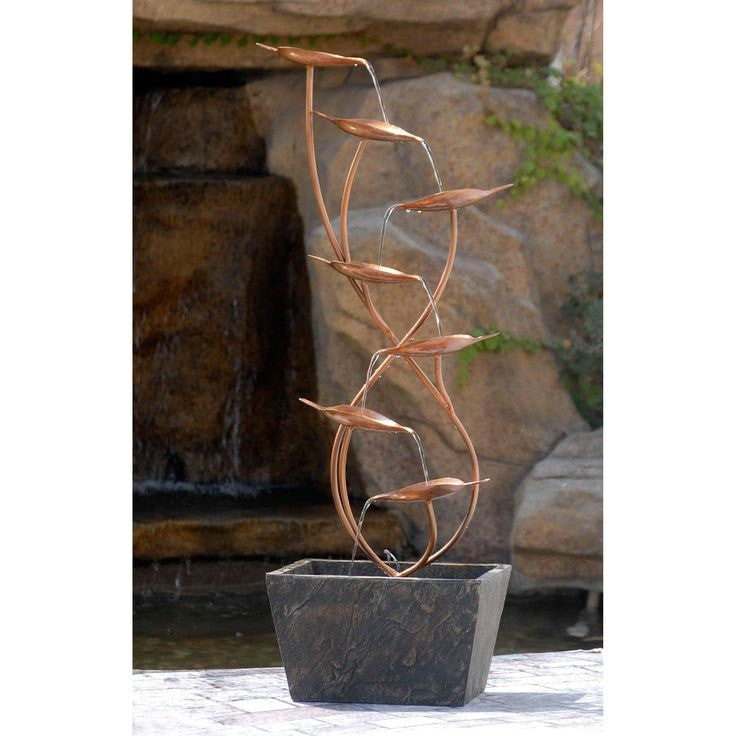 Jeco Metal Leaves Cascade Indoor/Outdoor Floor Water Fountain - Indoor/Outdoor - DynamicWaterFeatures