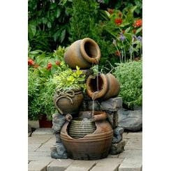 Jeco Multi Pots Outdoor Water Fountain With Flower Pot - Outdoor - DynamicWaterFeatures - 2