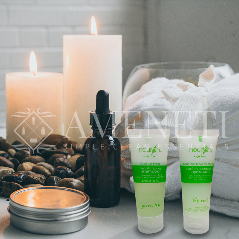 Nourish Spa Line Green Tea BNB Amenity Bath & Body Sets -  Shampoo & Conditioner