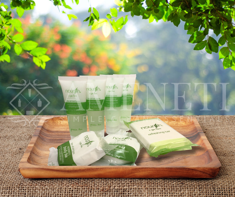 Nourish Spa Line Green Tea BNB Amenity Bath & Body Sets - Soap, Shampoo, Conditioner