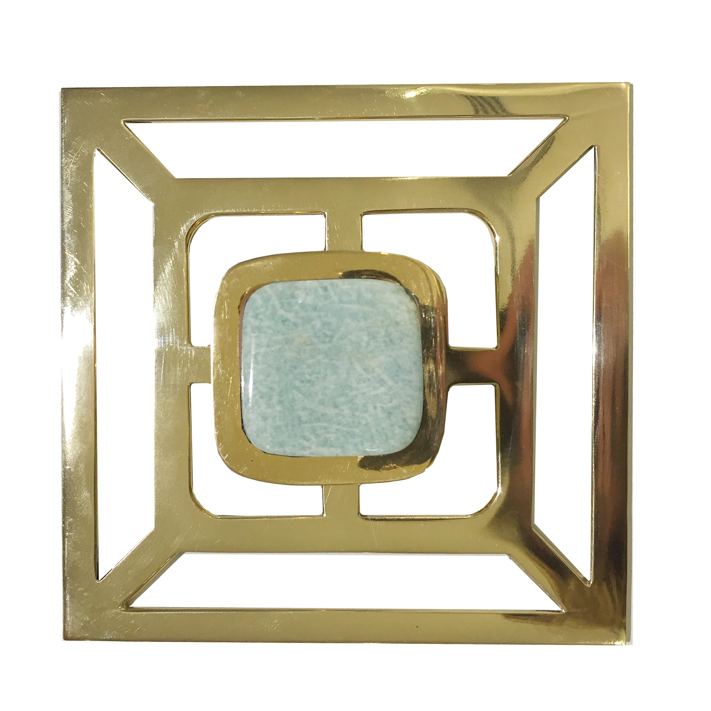 Benson Pull with Backplate / Brass (Select Your Gemstone)