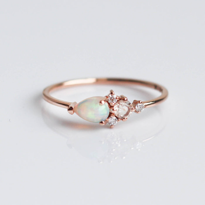 Opal, Morganite & Diamond Darling Cluster Ring