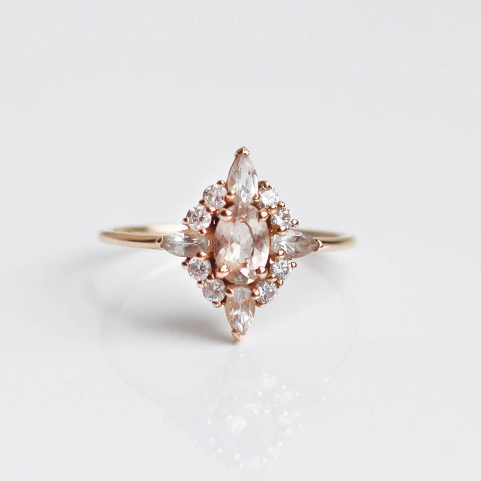 Morganite, White Sapphire & Diamond Pink Lady Ring