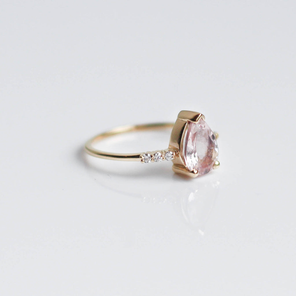 Pink Morganite & Diamond Fair Lady Ring
