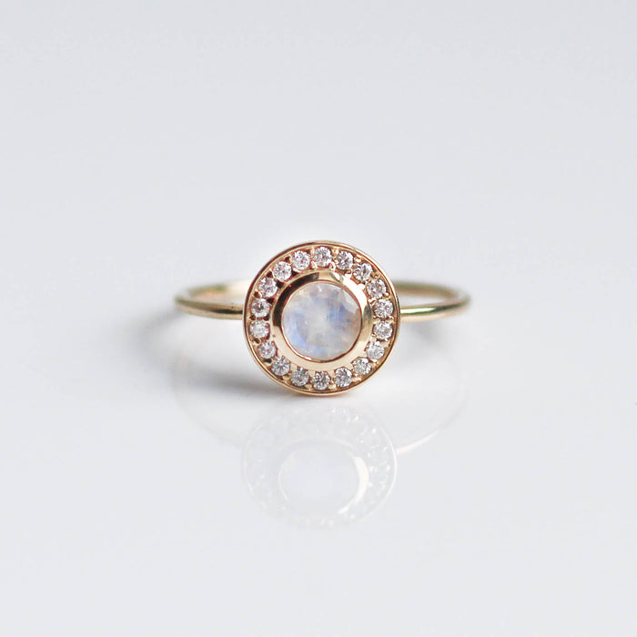 Rainbow Moonstone & Diamond Empress Ring