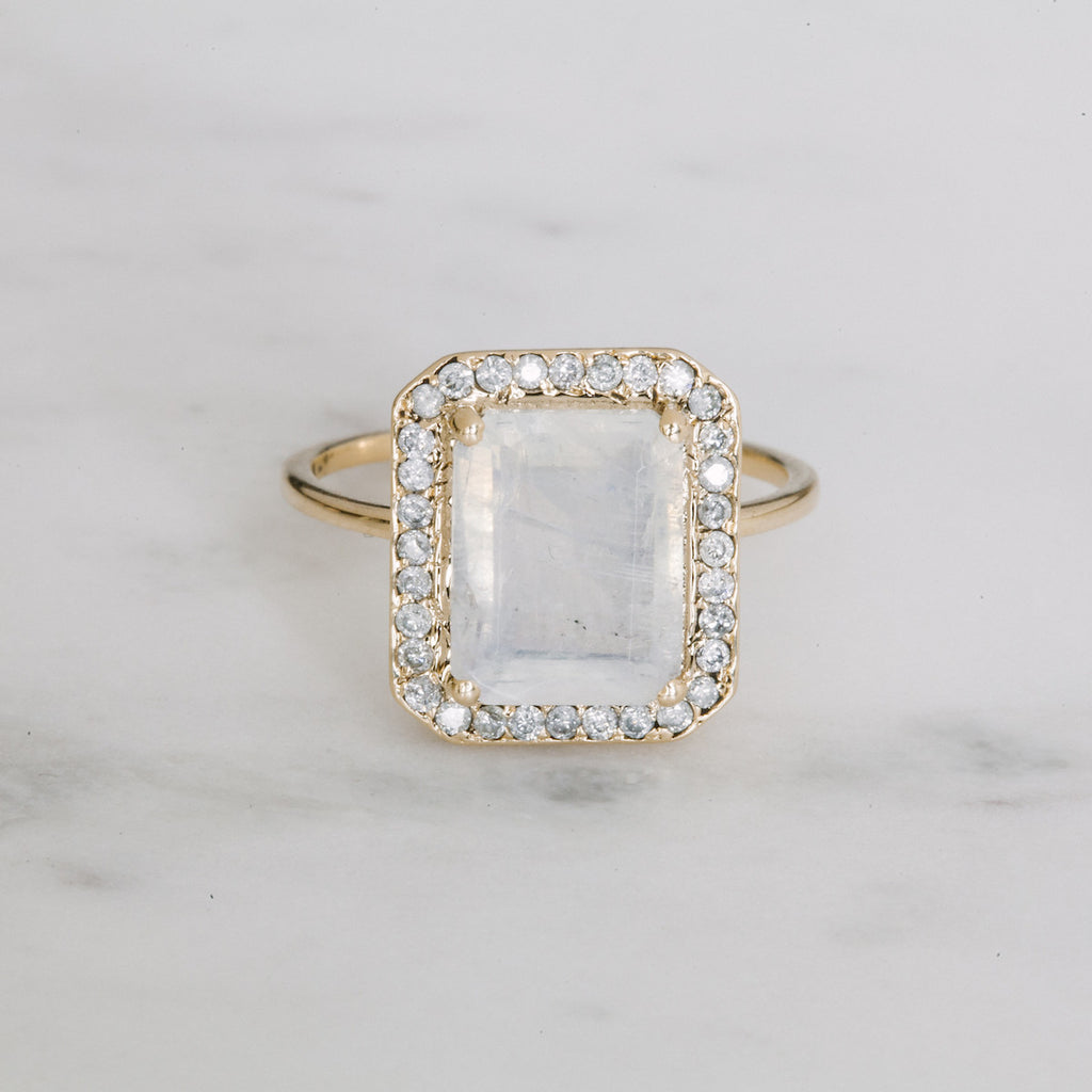 Rainbow Moonstone and White Diamond Crown Princess Ring