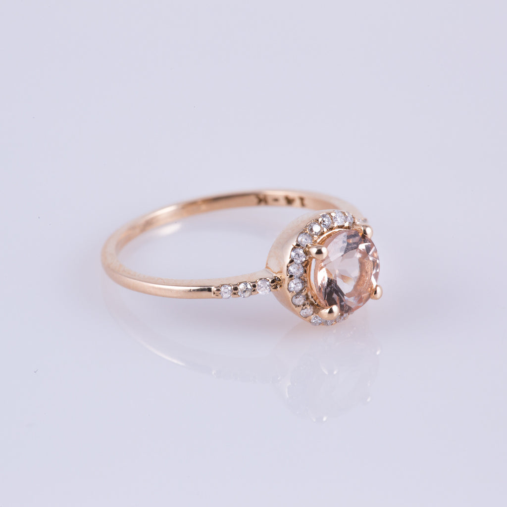 Pink Morganite & Diamond Princess Royal Ring