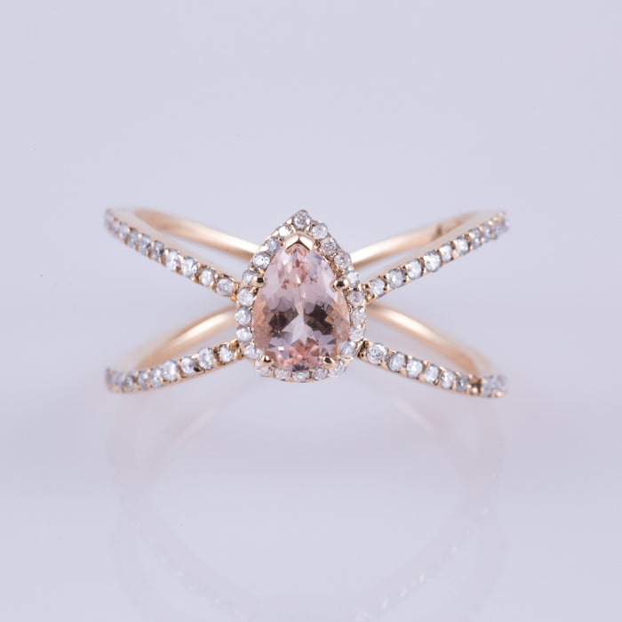 Pink Morganite & Diamond Enchantress Ring