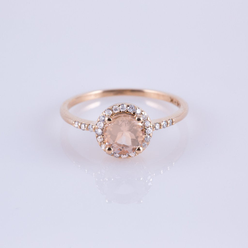 rose morganite gold diamond jewellers ring gear and product engagement dublin queen