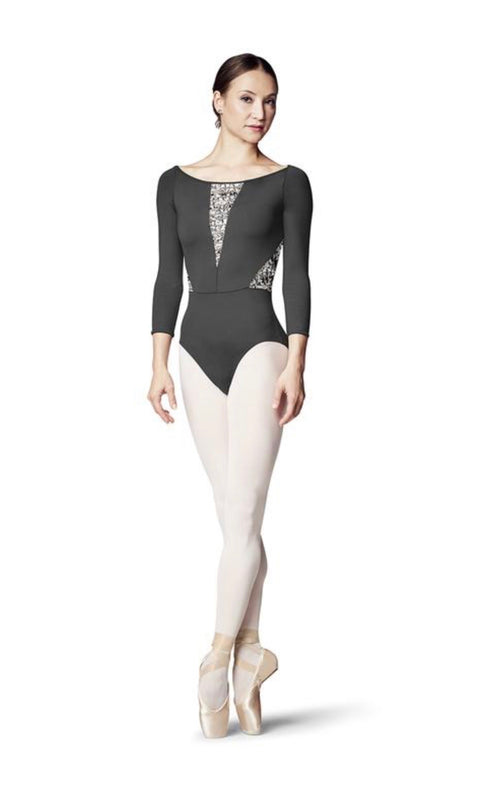 Bloch Boat Neck Print Mesh 3/4 Sleeve Leo - Adult