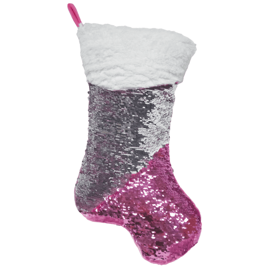 iScream Pink Stocking Reversible Sequin Pillow